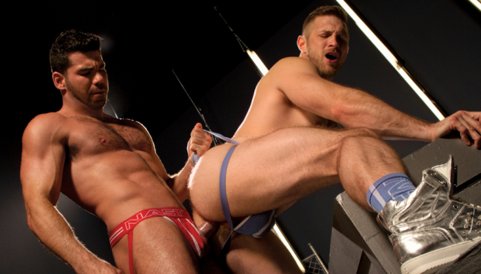 Paul-Wagner-and-Billy-Santoro-flip-fuck-and-pound-one-anothers-hairy-asses-in-the-gay-porn-film-Stunners-by-Falcon-Studios-15
